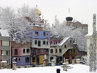 A winter shot to the colorful facade of Hundertwasserhouse