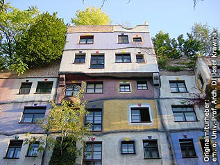 The colorful facade of Hundertwasserhouse
